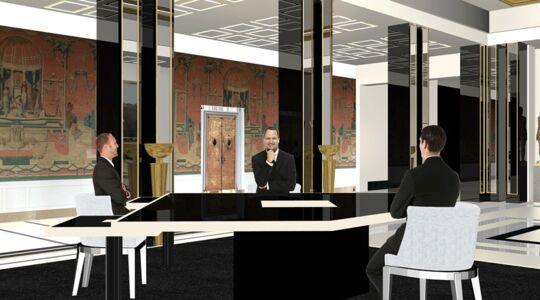 interview d emmanuel macron sur bfmtv d couvrez les images du d cor et les secrets de la. Black Bedroom Furniture Sets. Home Design Ideas